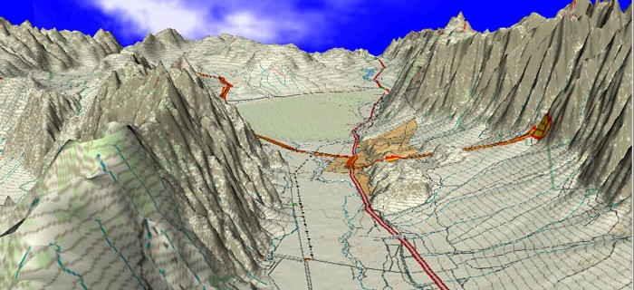 Aerial 3D view of Owens Valley, looking south past Lone Pine in the middle and Whitney Portals Rd. on the right.