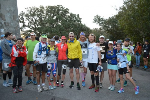 Old Baldy Lighthouse Start Line. From left: Jim Schroeder, Norma Bastidas -Compayre, Meredith Dolhare, Bradford Lombardi, Frank McKinney, Keith Hanson, Breanna Cornell and Kelly Lavallee Facteau. Photo by Alix Shutello, CEO, Owner-Editor of Endurance Racing Magazine.