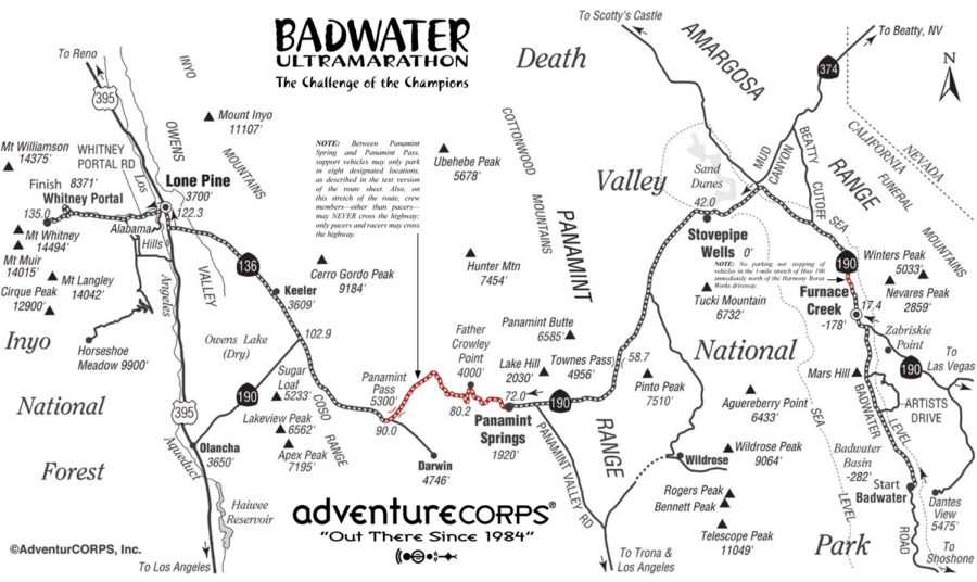 Bad Water 135 miles Ultra Marathon California Decal Car Window