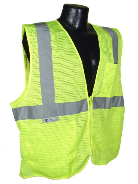 "This generic ""highway safety vest"" meets OSHA Class 2 Reflectivity Requirements for use during the day but NOT at night."